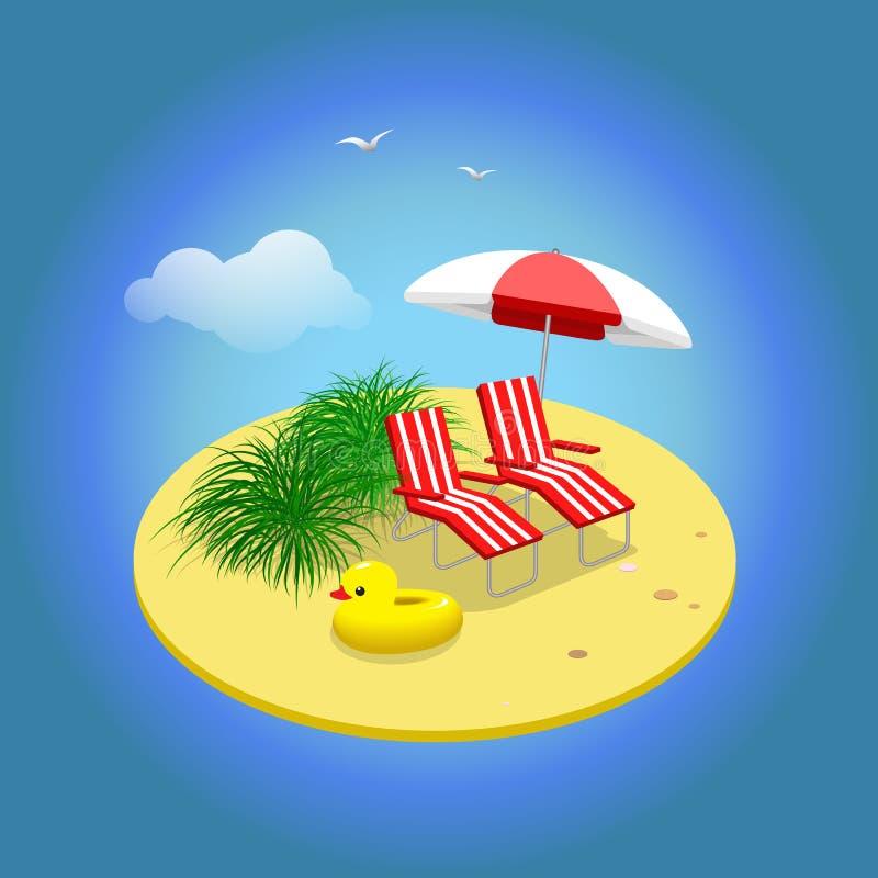 De vakantie van de zomer Zandig eiland met sunbeds en paraplu Vacati royalty-vrije illustratie