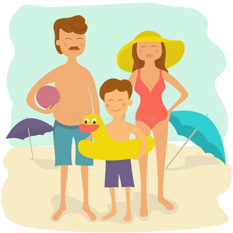De vakantie van de familiezomer Gelukkige Familie op het Strand stock illustratie