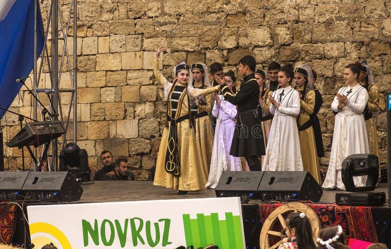 De vakantie van Novruzbayram in de hoofdstad van de Republiek Azerbadjan in de stad van Baku 22 Maart 2017 stock foto