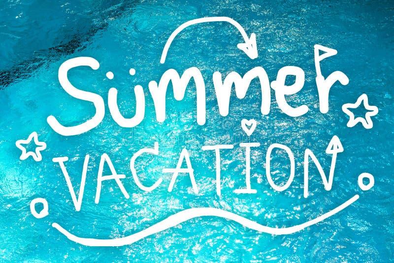 De vakantie van de zomer De hand trekt van de Zomervakantie op zwembadachtergrond Het concept van de krabbelbanner royalty-vrije stock fotografie