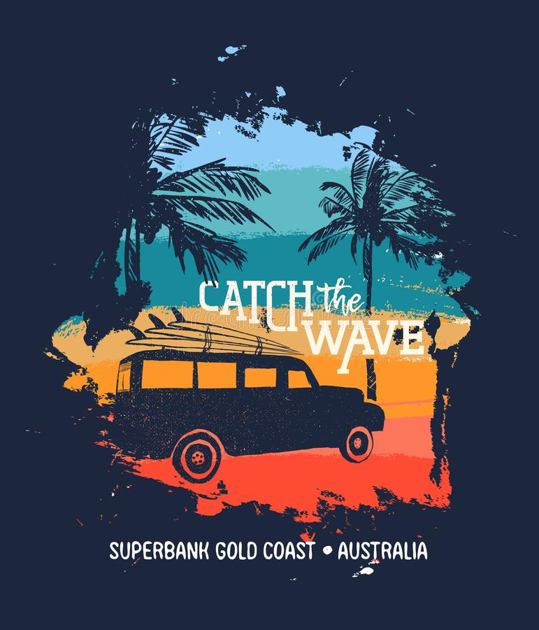 Download De Vakantie Van De De Zomerbranding In Australische Gouden Kust Vector Illustratie - Illustratie bestaande uit art, australisch: 114226616