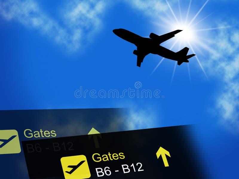 De vakantie wijst in het buitenland Vliegtuig op Vliegtuig en vliegt royalty-vrije illustratie