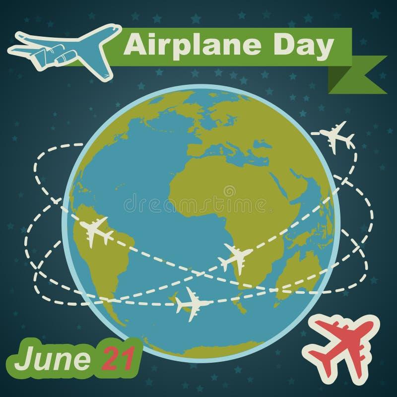 De vakantieaffiche van de Aiplanedag in vlak ontwerp vector illustratie
