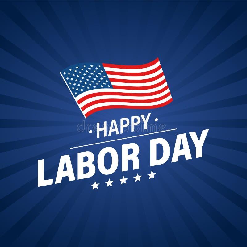 De vakantiebanner van de arbeidsdag De gelukkige kaart van de Dag van de Arbeidgroet De vlag van de V De Verenigde Staten van Ame vector illustratie