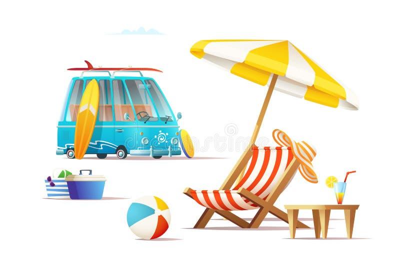 De vakantieconcept van de de zomerreis De illustratie van het beeldverhaal vector illustratie