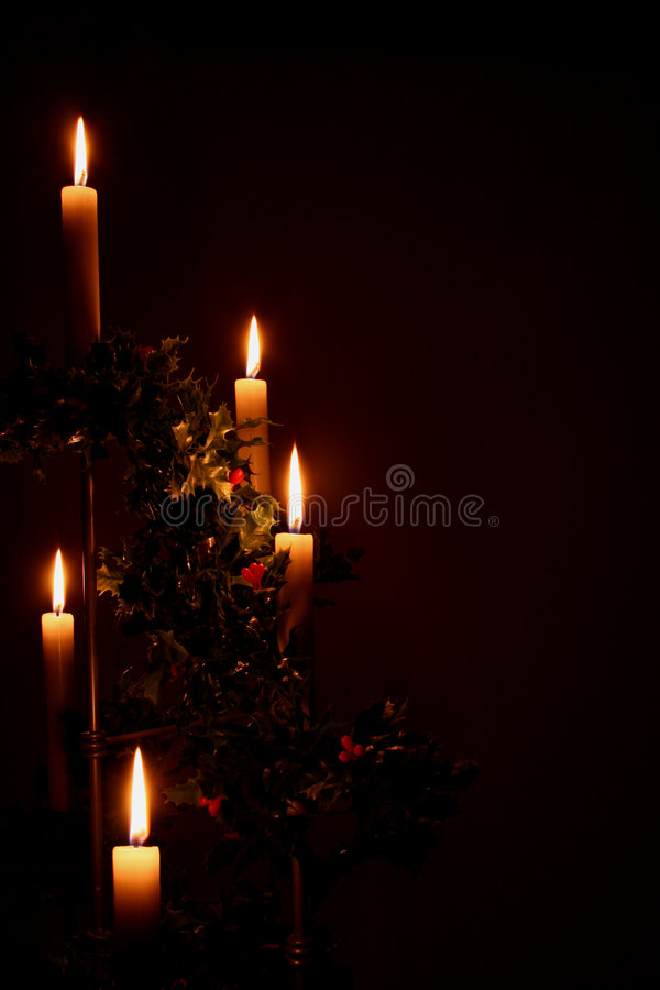 De vakantiekaarsen van Kerstmis stock foto