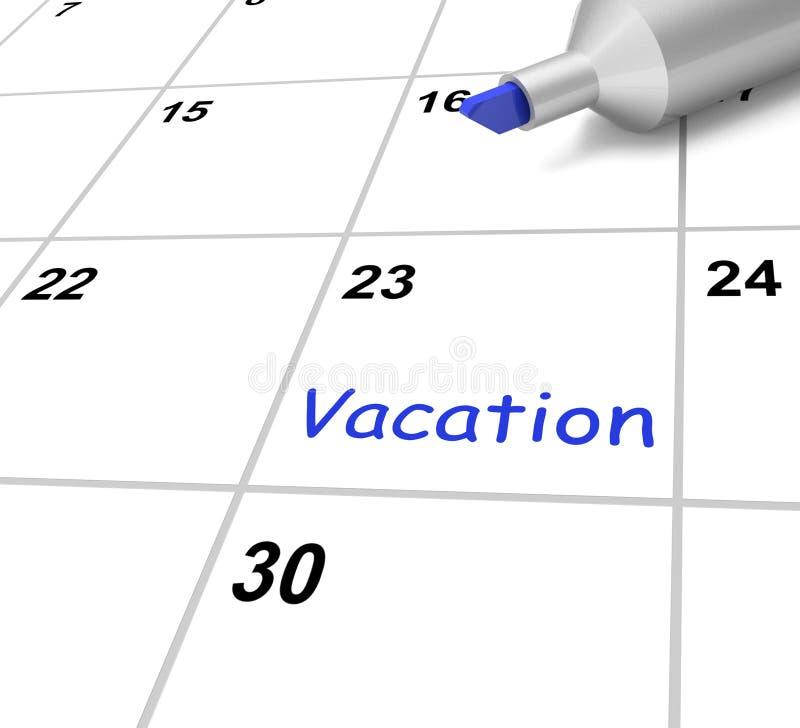 De vakantiekalender toont Onderbreking of Vrij van stock illustratie
