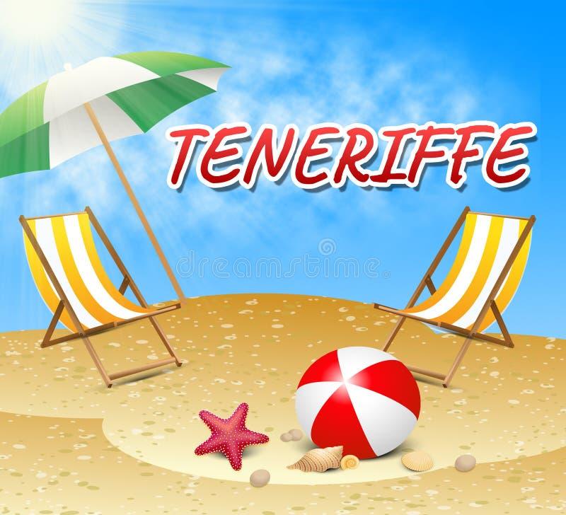 De Vakanties van Tenerife vertegenwoordigt de Zomertijd en Stranden royalty-vrije illustratie