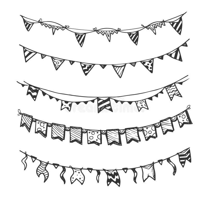 De vakantieslingers met de lichten en de vlaggen van de gloeilampenpartij overhandigen getrokken, schets vectorreeks royalty-vrije illustratie