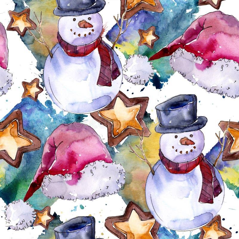 De vakantiesymbool van de Kerstmiswinter in een waterverfstijl Naadloos patroon als achtergrond royalty-vrije illustratie