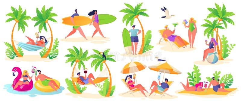 De vakantiethema van de zomer Openluchtactiviteit en rust op het strand royalty-vrije illustratie