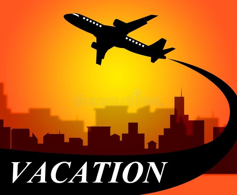 De vakantievluchten betekent weg Tijd en Vliegtuig royalty-vrije illustratie