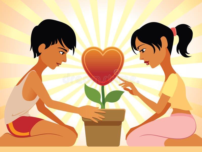 De valentijnskaarten bloeien vector illustratie