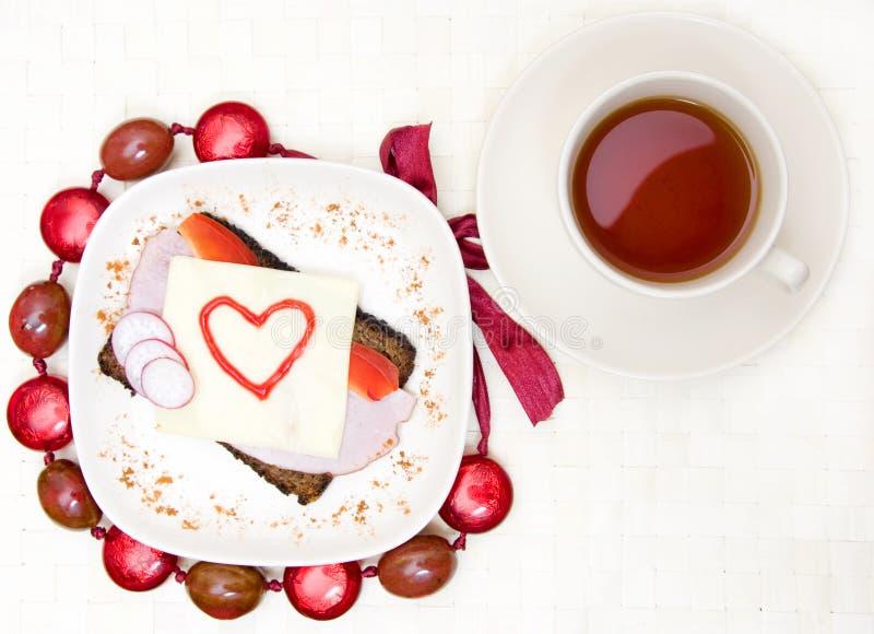 De valentijnskaarten ontbijten stock fotografie