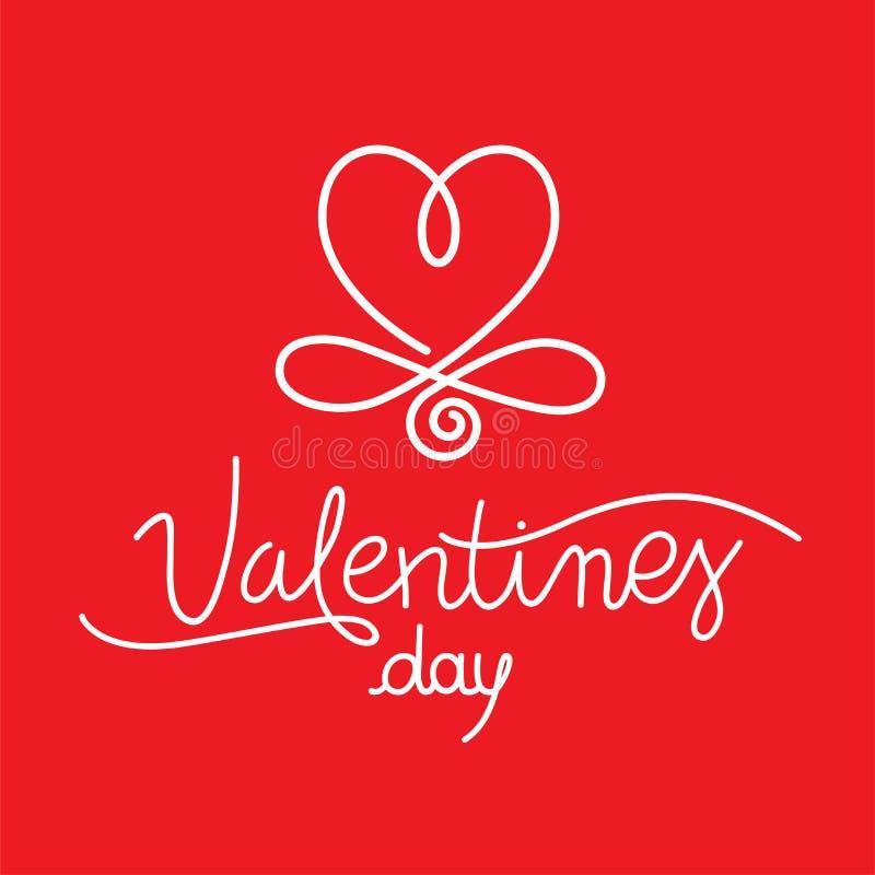 De valentijnskaarten overhandigen Getrokken Kalligrafisch Hartsymbool stock illustratie