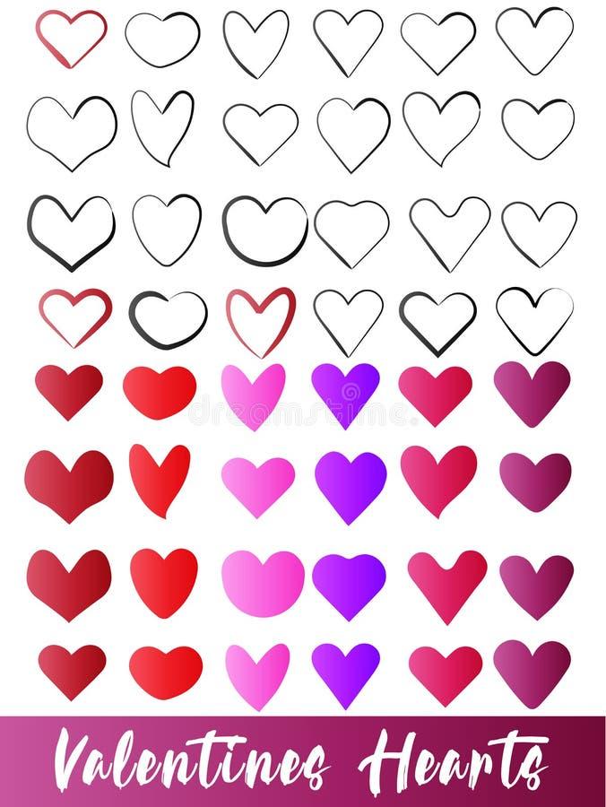 De valentijnskaartensymbool van de harten vector vastgesteld inzameling stock illustratie
