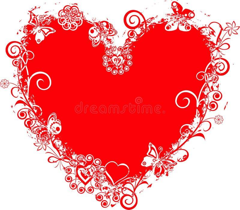 De valentijnskaartframe van Grunge, hart, vector royalty-vrije illustratie