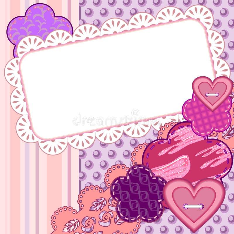 De valentijnskaartkaart van het plakboek stock illustratie