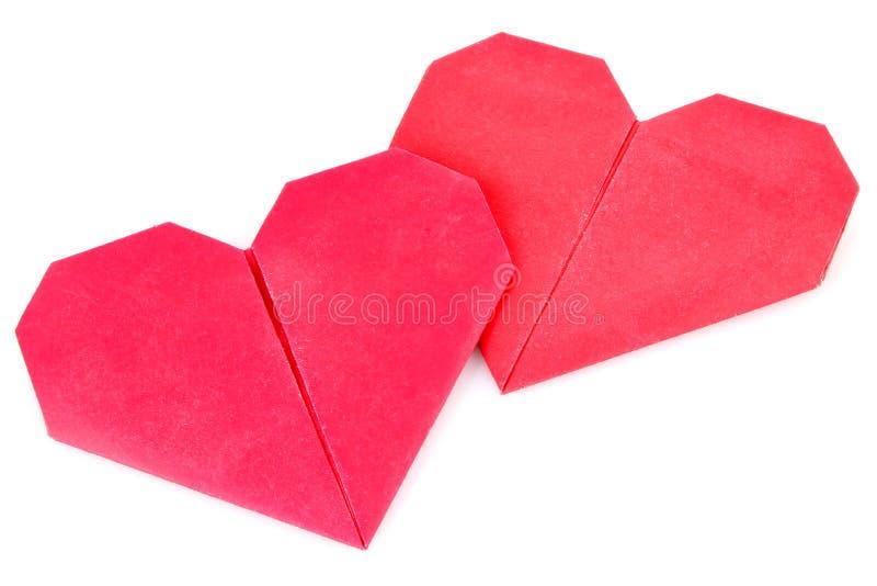 De valentijnskaartorigami van het paar stock fotografie
