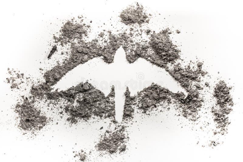 De valk, havik, Phoenix, de tekening van het adelaarssilhouet maakte in as als r stock fotografie
