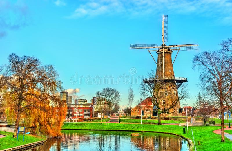 De Valk, a tower mill in Leiden, the Netherlands. De Valk, a historic tower mill in Leiden, the Netherlands royalty free stock photography