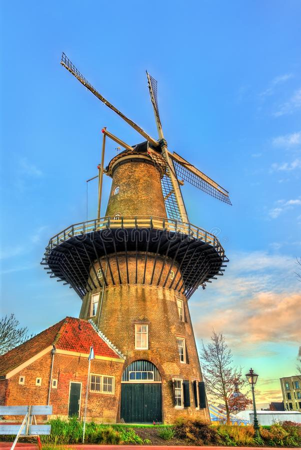 De Valk, a tower mill in Leiden, the Netherlands. De Valk, a historic tower mill in Leiden, the Netherlands royalty free stock images