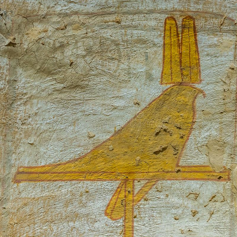 De valk van Horus, een muurschilderij in de vallei van de koningen stock afbeelding