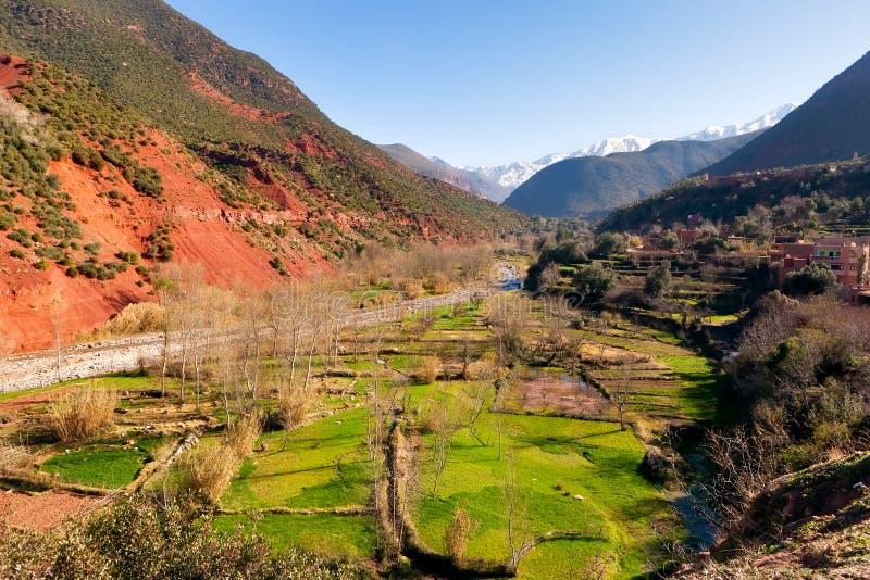 De vallei groene gebieden van Ourika royalty-vrije stock afbeeldingen