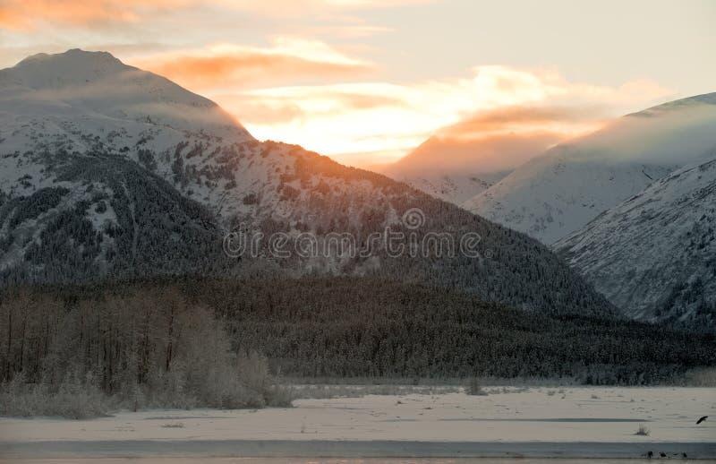 De vallei van Chilkat van de Zonsondergang   stock afbeelding