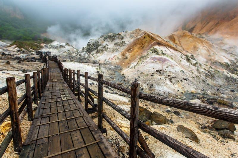 De vallei van de Jigokudanihel in Noboribetsu, Hokkaido, Japan stock foto