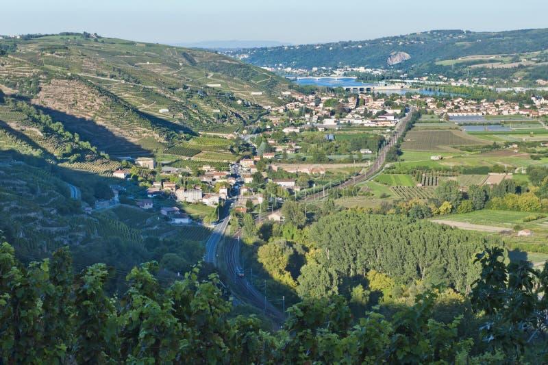 De Vallei van de Rivier van de Rhône dichtbij Wenen royalty-vrije stock afbeeldingen