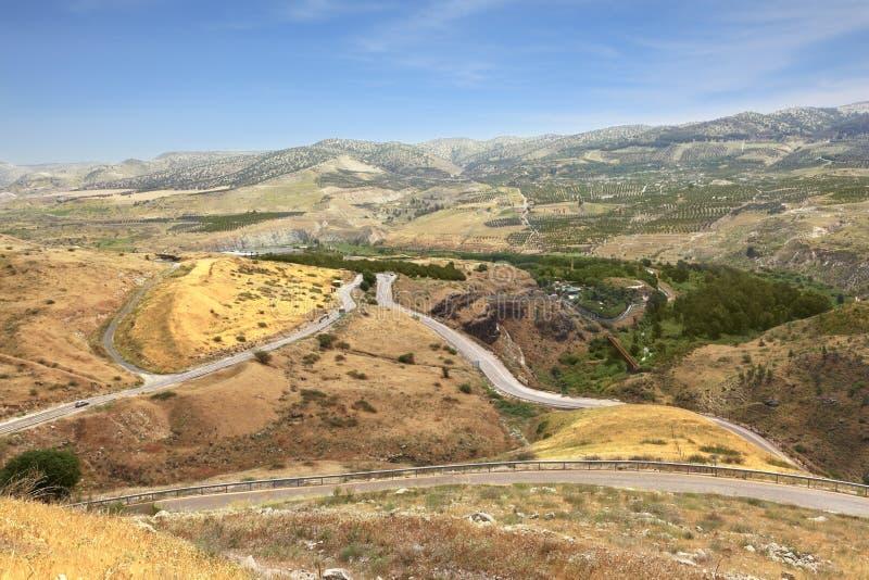 De vallei van de Yarmoukrivier op de grens tussen Jordanië en Israël stock foto