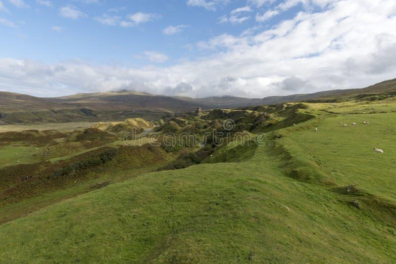 De vallei van de Fairy Glen op het eiland Skye stock afbeelding