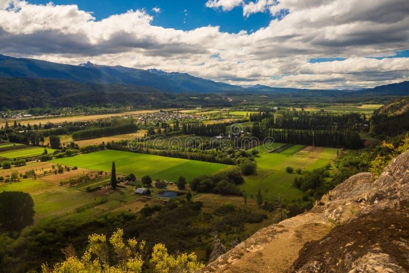 De vallei van Gr Bolson in Argentijns Patagonië dng stock foto's