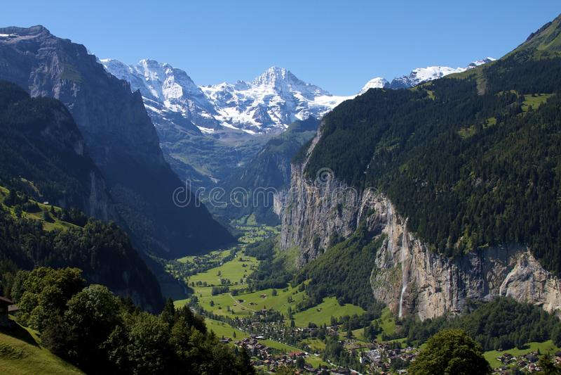 De Vallei van Jungfrau in Zwitserland stock fotografie