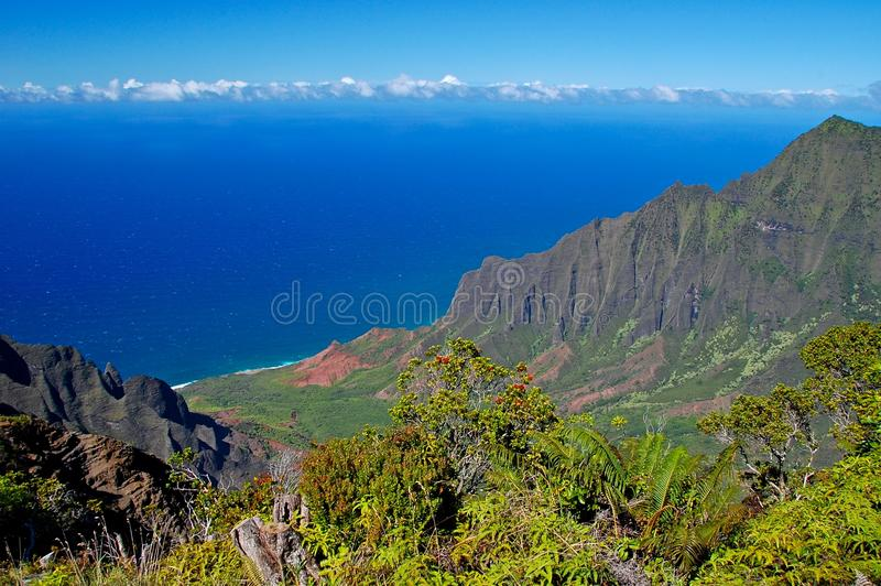 De Vallei van Kalalau, Napali kust, Kauai stock afbeelding