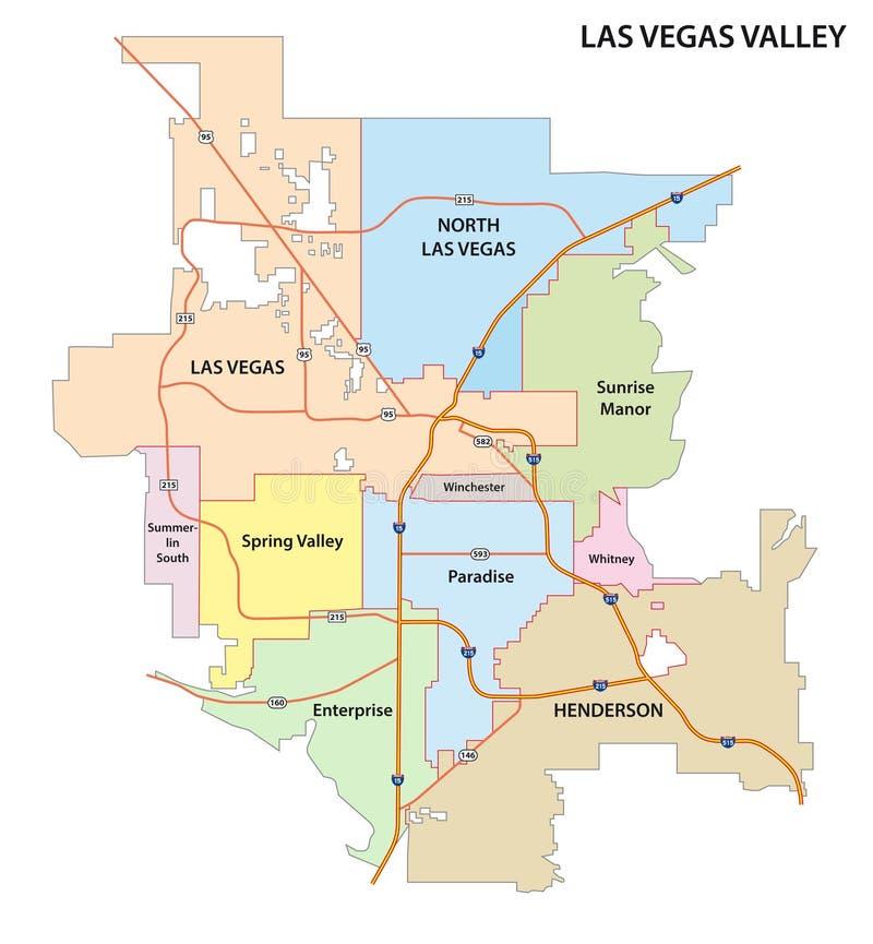 De Valleiweg van Las Vegas en administratieve kaart vector illustratie