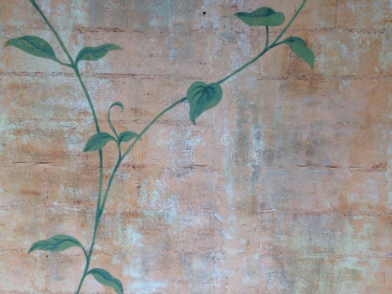 De valse achtergrond van de klimop oude retro bakstenen muur stock foto
