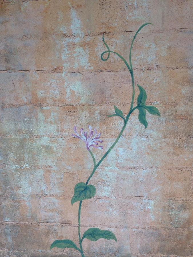De valse achtergrond van de klimop oude retro bakstenen muur stock foto's