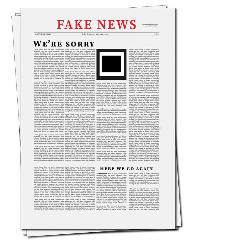 De valse Illustratie van de Nieuwskrant Vlak Ontwerp van Krant met Valse Nieuwskrantekop royalty-vrije illustratie