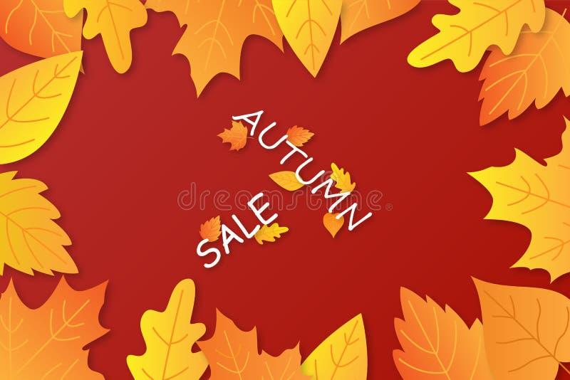 De van de de achtergrond herfstverkoop lay-out verfraait met bladeren voor het winkelen royalty-vrije illustratie