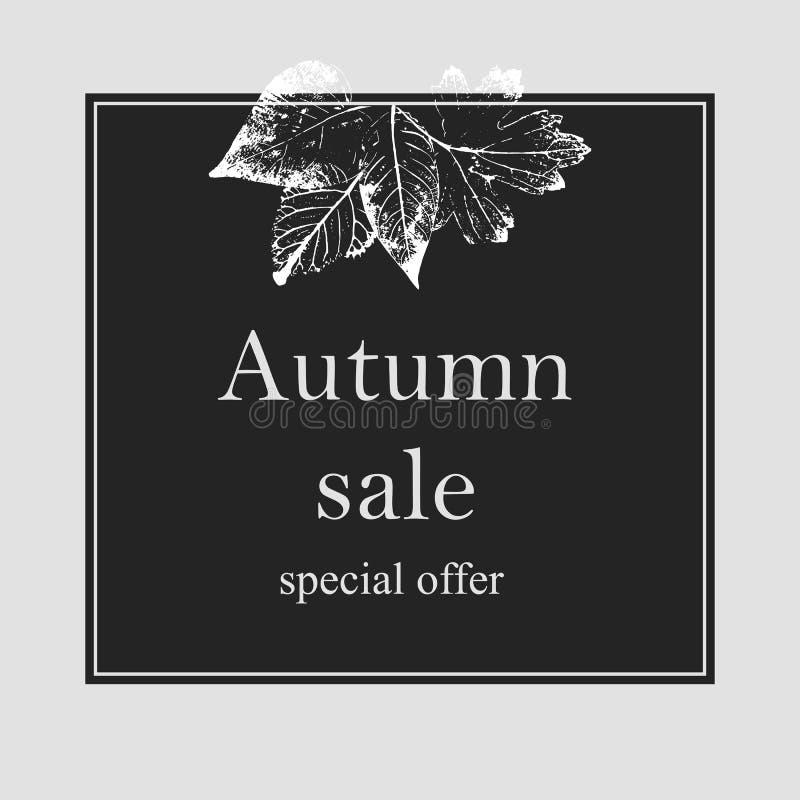 De van de de achtergrond herfstverkoop lay-out verfraait met bladeren voor het winkelen verkoop of van het van de promoaffiche en stock illustratie