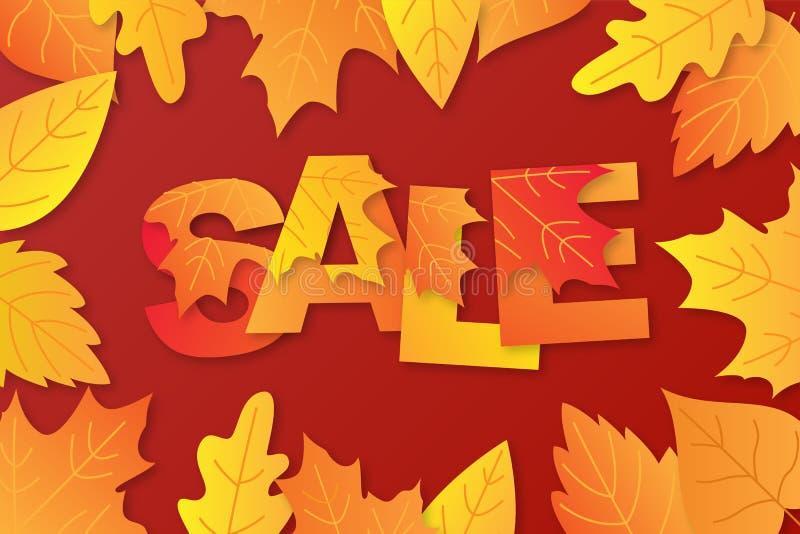De van de de achtergrond herfstverkoop lay-out verfraait met woord in esdoornbladeren en bladeren voor het winkelen stock illustratie