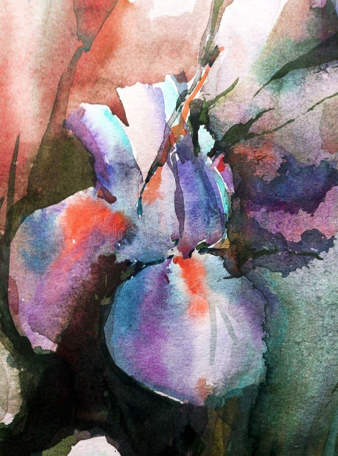 De van de achtergrond waterverfkunst abstracte bloemenfantasie natte was vertroebelde het enige violette blauw van de de lenteiri vector illustratie