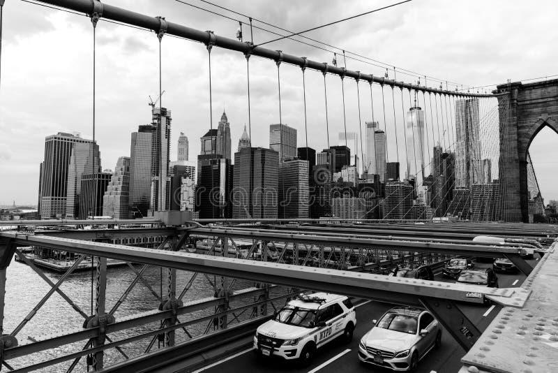 De van Brooklyn de Brug en van Manhattan Wolkenkrabbers, de Stad van New York, de V.S. royalty-vrije stock foto