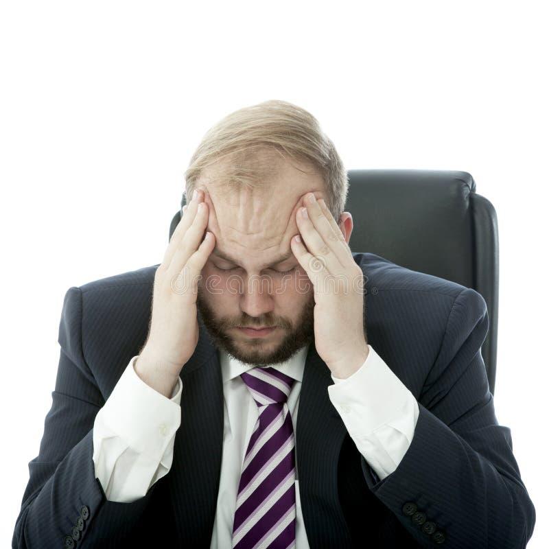 De van de bedrijfs baard mens heeft hoofdpijn royalty-vrije stock afbeeldingen
