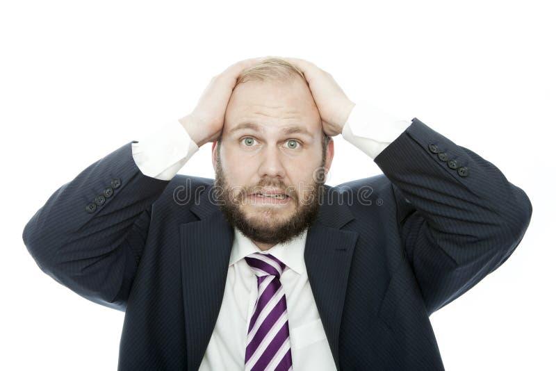 De van de bedrijfs baard mens kijkt geschokt stock afbeelding