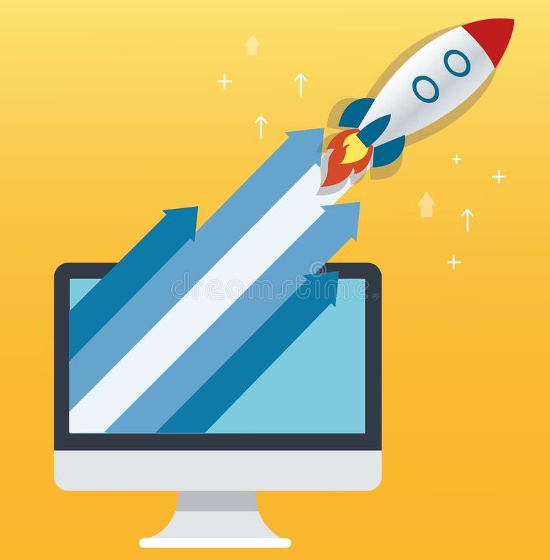 De van de raketpictogram en computer gele achtergrond, start bedrijfsconceptenillustratie vector illustratie
