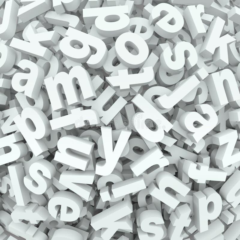 De van het achtergrond brievenallegaartje Gemorste Alfabetwoorden knoeien royalty-vrije illustratie