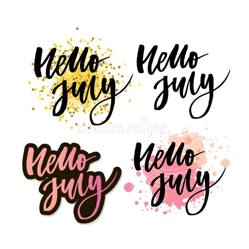De van letters voorziende druk van Hello Juli De zomer minimalistic illustratie Geïsoleerde kalligrafie op witte achtergrond Oran vector illustratie
